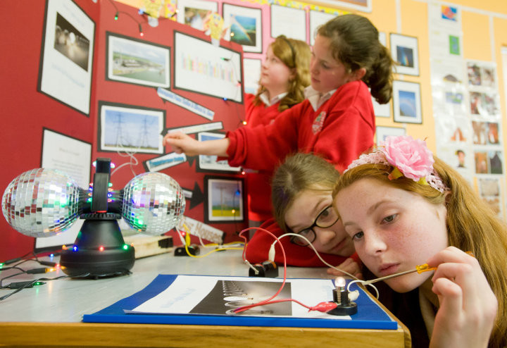 "Megan White, Emer Keane, Aine Donegan and Katie Mc Mahon working on their Science Week project ""What Lights Me Up"" at Inch N.S. Photograph by John Kelly."