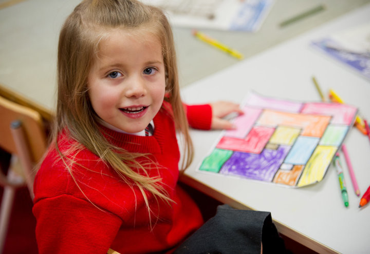 Scarlett Williams takes a break from her colouring at Inch N.S. Photograph by John Kelly.