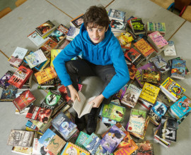 Munster 2014 champion, and All-Ireland finalist in the Eason's Spelling Bee competition Jack Feeney, a past pupil at Inch NS, returned to his Alma Mater to deliver his prize of €3000 of books to the school library. Photograph by John Kelly.
